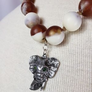 Jewelry - Elephant Beaded Tassel Necklace UpCycled OOAK